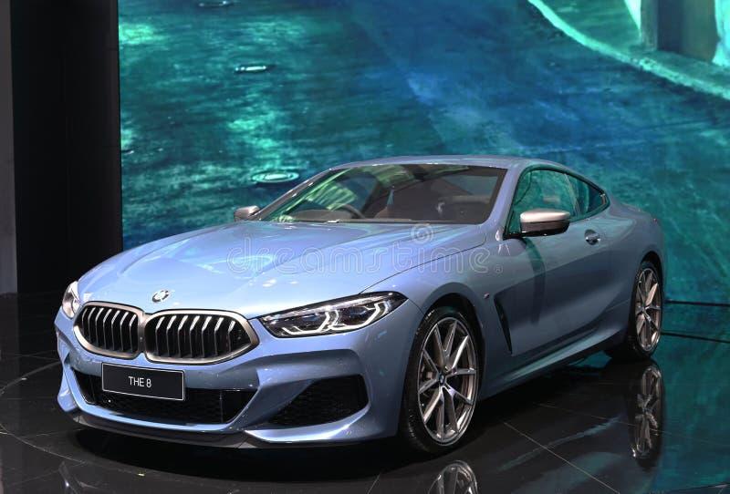 Bangkok, Thailand - December 3, 2018 : BMW 8 Series coupe sports car showcased at Bangkok Motor Expo 2018.  royalty free stock photography
