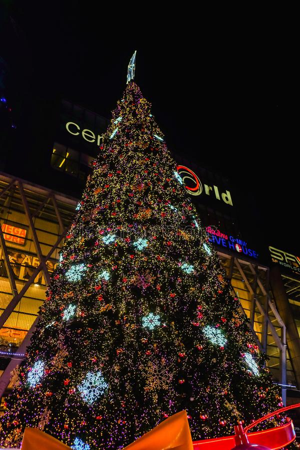 Christmas Tree in front of Central world deparment store with Tourist walking in Christmas eve day.bangkok City thailand. Bangkok/Thailand - 24 December 2015 stock image