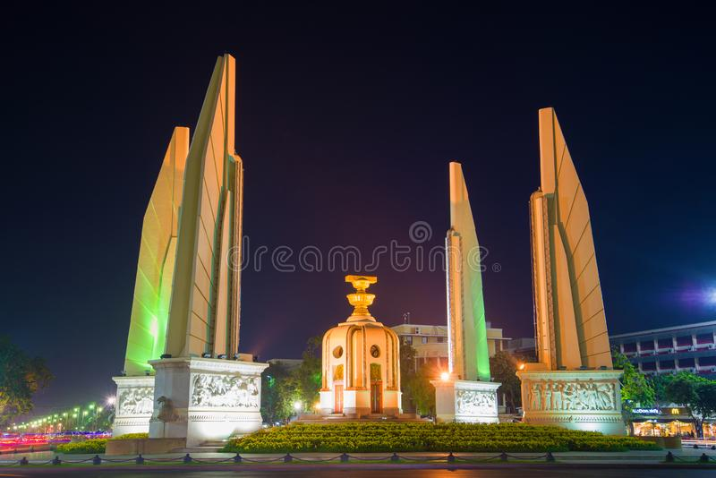 Democracy Monument close-up in nightlight. Bangkok stock photo