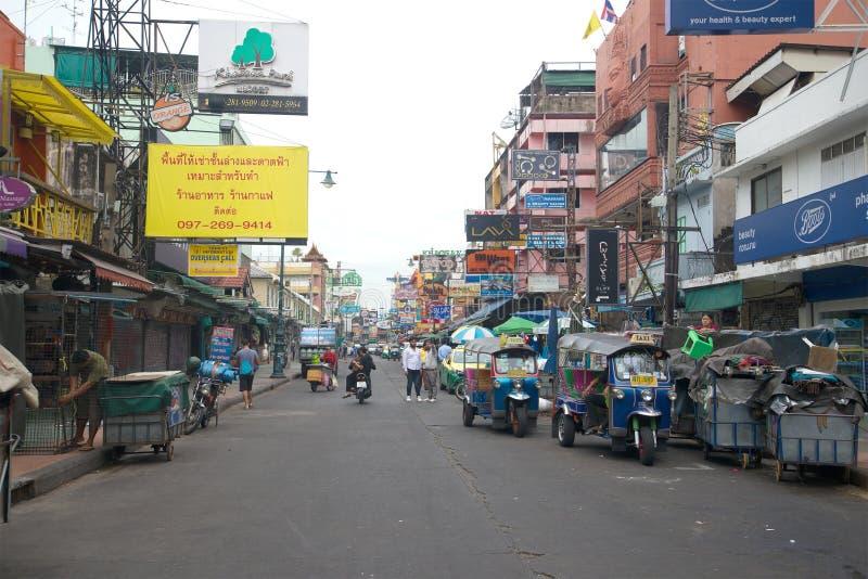 Early cloudy morning on Khaosan Road Street. Bangkok,Thailand. BANGKOK, THAILAND - DECEMBER 15, 2016: Early cloudy morning on Khaosan Road Street stock image