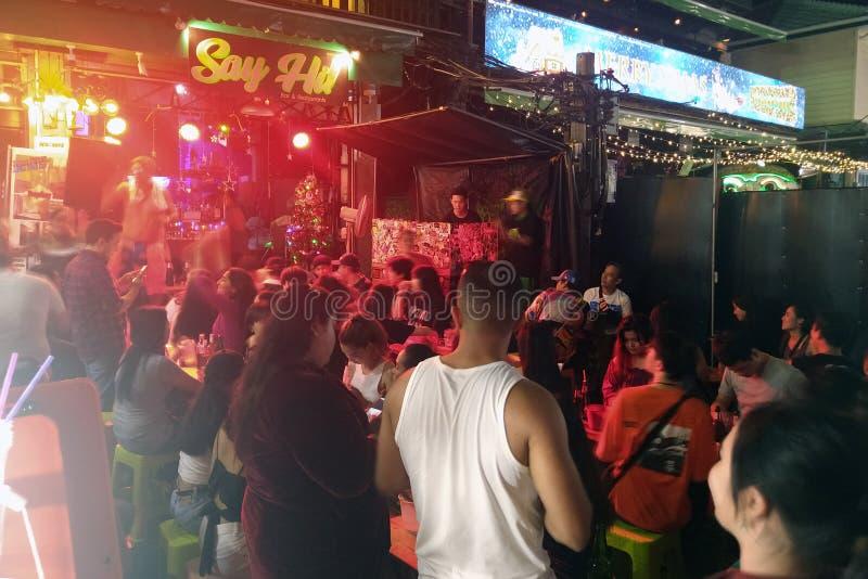 Khaosan Road at night. Bangkok, Thailand - December 26, 2019:  Khaosan Road at night. People enjoying music royalty free stock photos