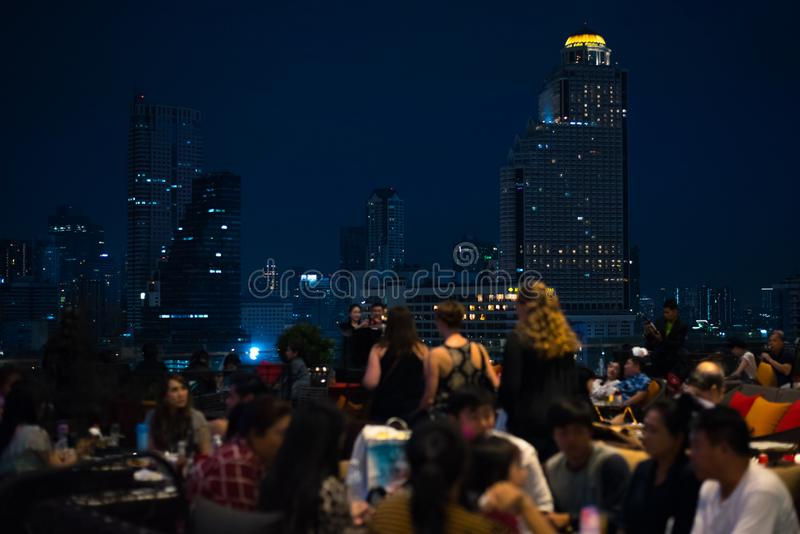 Bangkok skyline seen from Iconsiam Shopping Mall royalty free stock photography