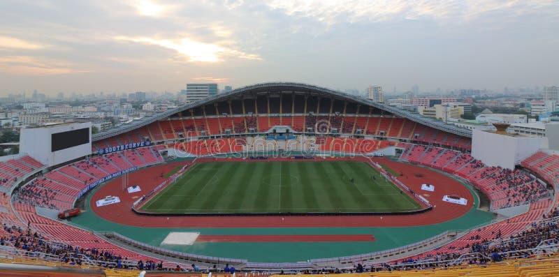 Bangkok , Thailand - December 8 ,2016 : Panoramic view of Rajamangala home national stadium of Thailand against twilight sky befor stock images