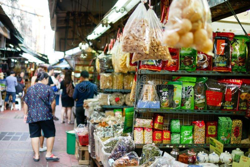 BANGKOK, THAILAND - DECEMBER 29, 2017: People are walking to buy food to cook in Yaowarat market stock image
