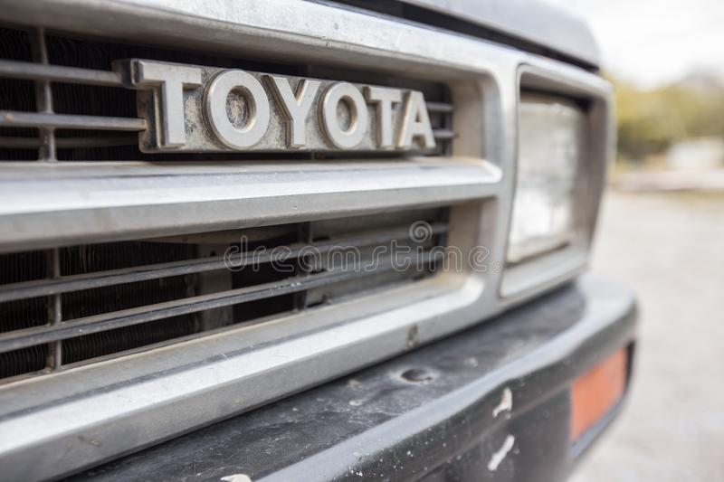Selective focus of Old Front grille Pickup Truck TOYOTA stock photography