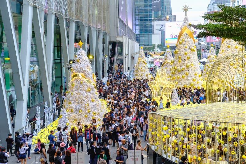 Thai people at Light Up Christmas Tree Celebration 2017 at Central World in Bangkok, Thailand. Bangkok, Thailand - December 30, 2016 : Thai people at Light Up royalty free stock photos