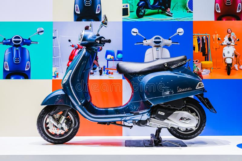 Bangkok, Thailand - Decemeber 3, 2019 : Blue Vespa scooters at the Bangkok Motor Expo 2019 in Thailand. Vespa is Italian scooter royalty free stock photography