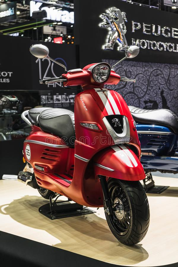 Bangkok, Thailand - Decemeber 3, 2019 : Peugeot Django 150 scooter on display at the Bangkok Motor Expo 2019 in Thailand. The 2019 stock images
