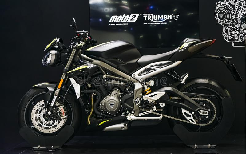 Bangkok, Thailand - Decemeber 3, 2019 : TRIUMPH Moto2 Motocycle on display at the Bangkok Motor Expo 2019 in Thailand. The new stock photography