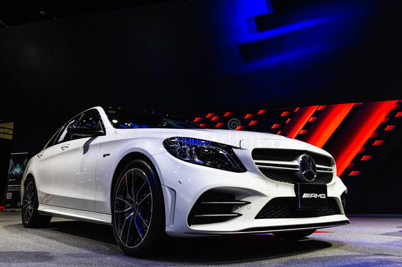 Bangkok, Thailand - Decemebr 3, 2019 : The Mercedes Benz E200 AMG display on the Bangkok Motor Expo 2019 in Thailand royalty free stock photos