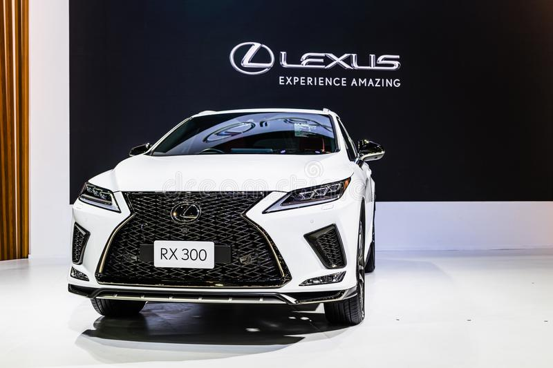 Bangkok, Thailand - Decemebr 3, 2019 : New Lexus RX 300 midsize crossover SUV display on the Bangkok Motor Expo 2019 in Thailand stock image