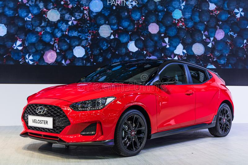 Bangkok, Thailand - Decemebr 3, 2019 : Red Hyundai Veloster on display at the Bangkok Motor Expo 2019 in Thailand stock images