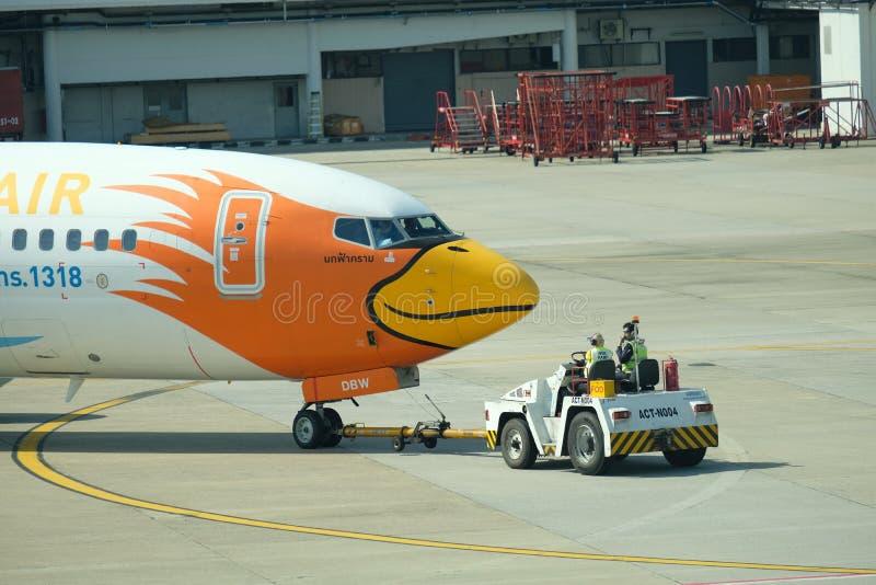 BANGKOK, THAILAND - 13. Dezember 2018: Die Fluglinie bei Dong Muang Airport lokale Wege in Thailand am Mittag lizenzfreie stockfotografie