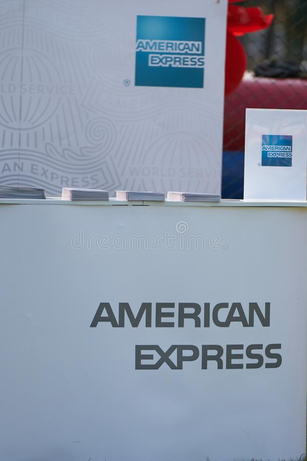Bangkok ,Thailand,Feb 10,2018,American Express counter promotion. Outdoors in festival cerebration stock photos