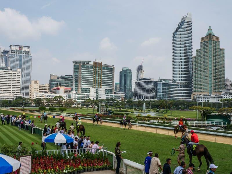 Bangkok, Thailand - Feb 24, 2019: jockey take the horse to warm up the body before the race at The Royal Bangkok Sports Club stock photography