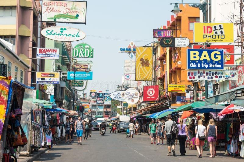 Bangkok, Thailand. - Feb 10 2015: Khaosan road. a famous backpacker street Khao San in Bangkok, Thailand stock photography