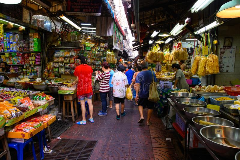 Bangkok, Thailand - February 2, 2019 : Local people shopping at food market at Chinatown in Bangkok stock photos