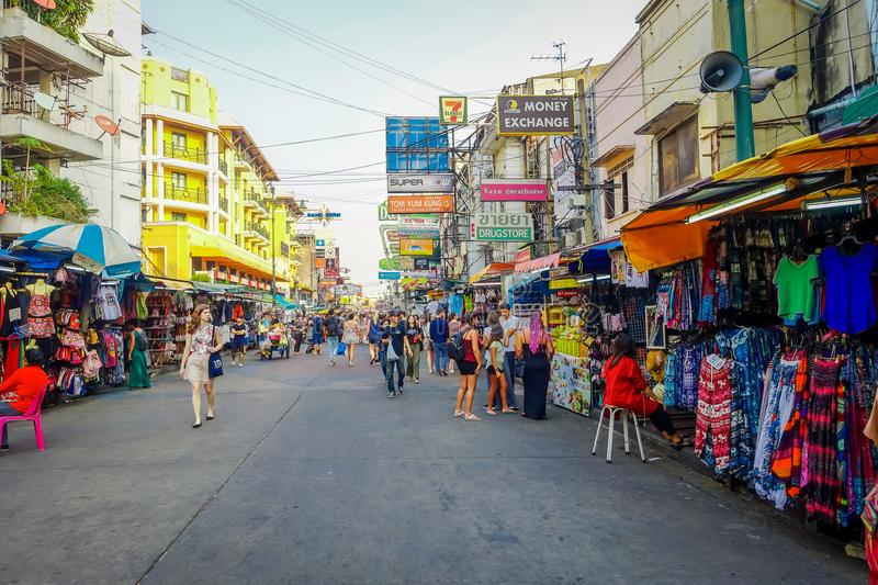BANGKOK, THAILAND, FEBRUARY 02, 2018: Outdoor view of unidentified tourists walking at Khao San Road, this road is royalty free stock image