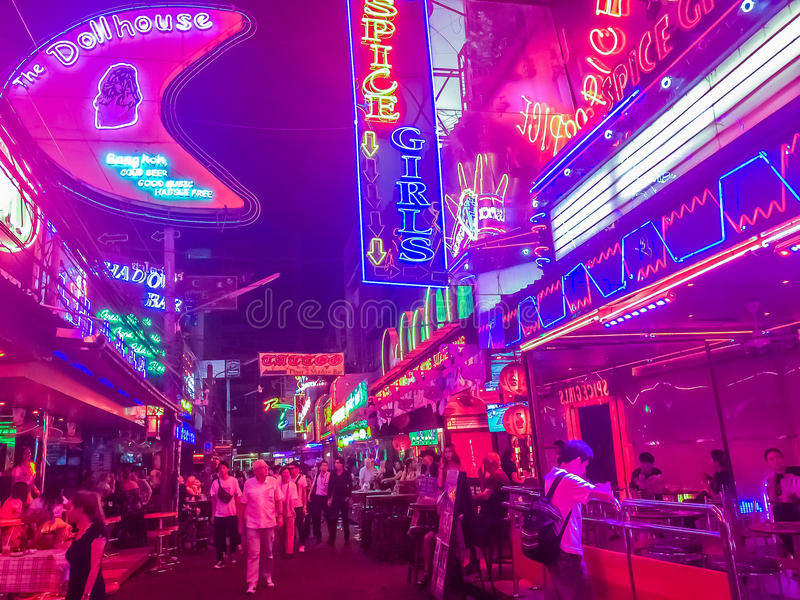 Bangkok, Thailand - February 21, 2017: Tourist visited Soi Cowboy, internationally known as a red light district at the heart stock photos