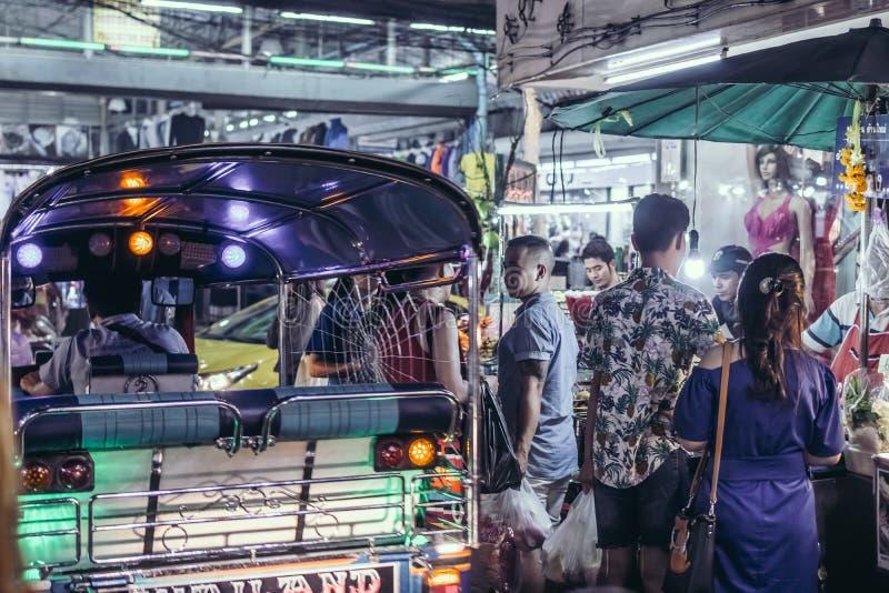 BANGKOK, THAILAND - FEBRUARY 2, 2018: Tuk tuk moto taxi in Bangkok. royalty free stock images