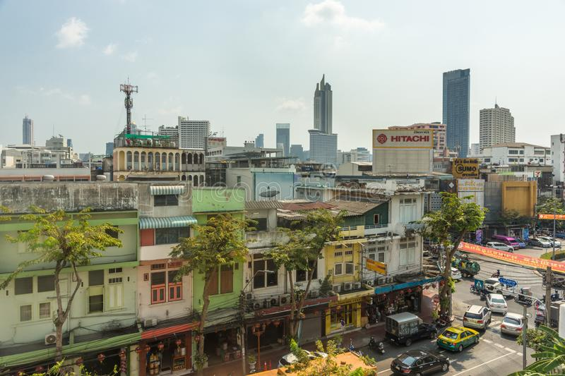 BANGKOK, THAILAND - February 14, 2019 View to the buildings and roofs of Bangkok city, Thailand during daylight stock photo