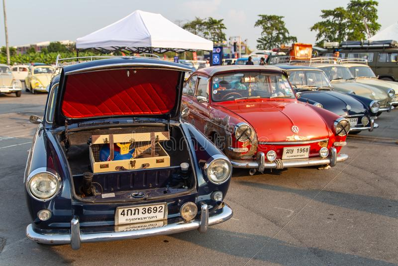 Vintage VW Type 3 owners gathering at volkswagen club meeting royalty free stock photography