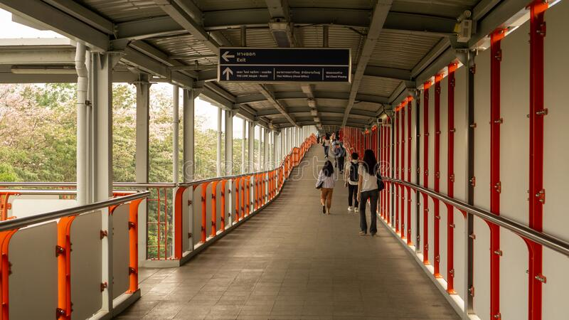 Bangkok, Thailand-February 7, 2020: New Sky walkway from BTS sky train to city  beside Chatuchak park Phaholyothin road,. Open for help people get more royalty free stock photo
