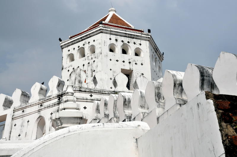 Bangkok, Thailand: Fort Phra Suman. 19th century defensive Fort Phra Suman on Thanon Phra Suman Road in Bangkok, Thailand is hexagonal in shape with crenellated royalty free stock photography
