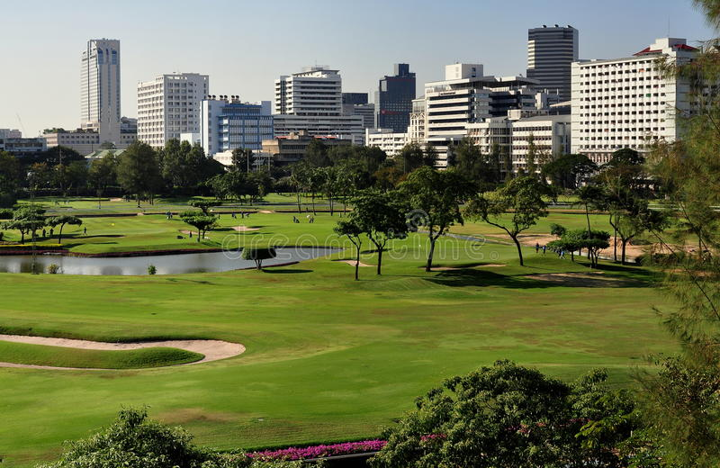 Bangkok, Thailand: Golf Course. The golf course at the Royal Bangkok Sports Club on Ratchadamri Road in the heart of Bangkok, Thailand surrounded by office stock image