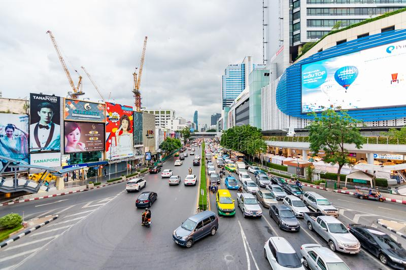 BANGKOK, THAILAND - 1.11.2019: Heavy traffic in the Bangkok city. Evening traffic peak and jam in rush hour. Pollution by cars and stock image