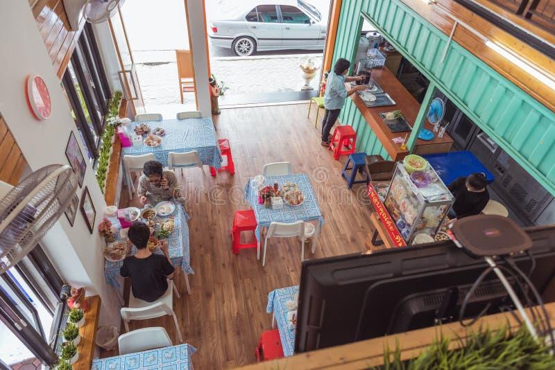 Bangkok, Thailand: an interior of a restaurant in Ram 2, Prawet. Pork noodle soup for 35-40 baht a plate 1.2$. Bangkok, Thailand - August 21, 2018: an interior royalty free stock images