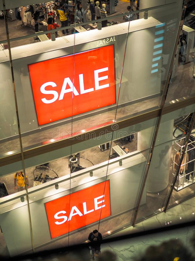 BANGKOK, THAILAND. JAN 1, 2019: Every retails start announcing for SALE to celebrate, Red sign White Text Sale in Shop Display.  stock photo
