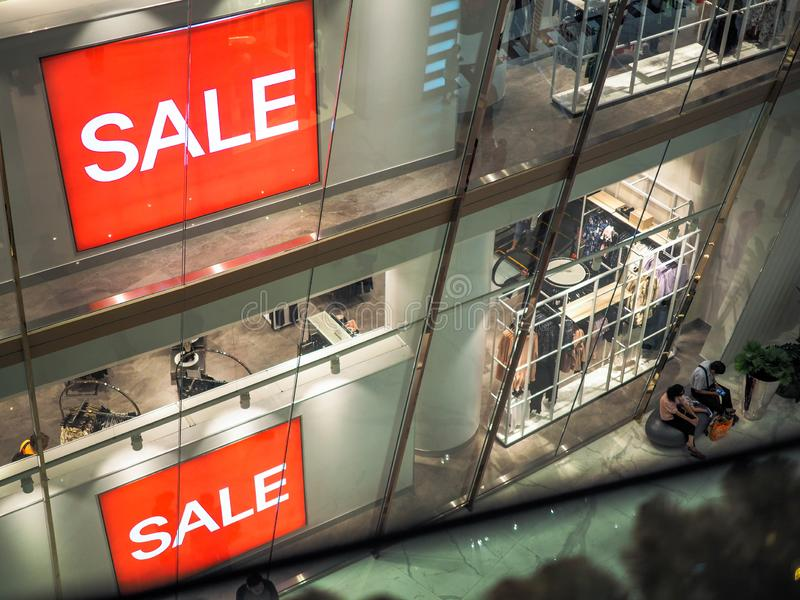 BANGKOK, THAILAND. JAN 1, 2019: Every retails start announcing for SALE to celebrate, Red sign White Text Sale in Shop Display.  stock photography