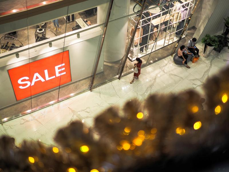 BANGKOK, THAILAND. JAN 1, 2019: Every retails start announcing for SALE to celebrate, Red sign White Text Sale in Shop Display.  royalty free stock images