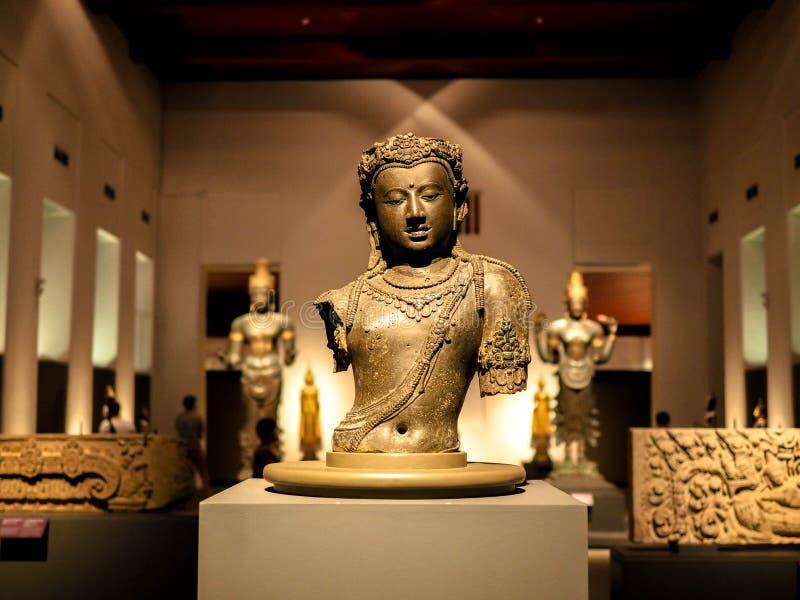 Bangkok, Thailand - Jan 9, 2019: Half of Buddha statue at National museum, Bangkok, Thailand. Bangkok, Thailand - Jan 9, 2019: Half of Buddha statue at National royalty free stock photos