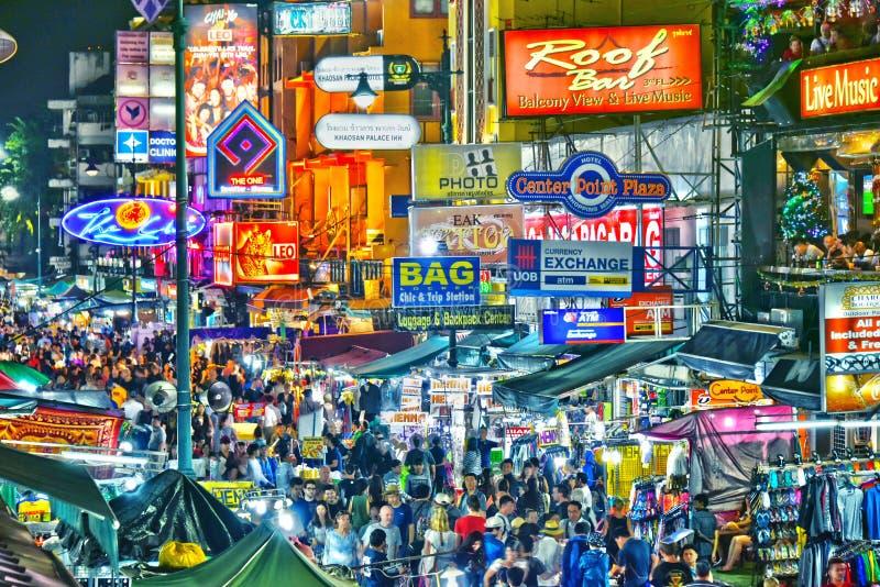 Khaosan Road by night, Bangkok, Thailand. BANGKOK, THAILAND - JAN 12, 2018: Khaosan Road by night, a world famous backpacker district in Bangkok, Thailand stock images