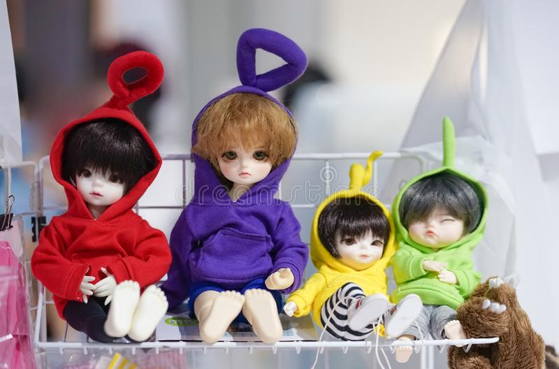 Bangkok, Thailand - Jan 27, 2019 : A photo of cute plush ball jointed doll BJD doll wearing colorful teletubbies sweater. Teletubbies is a famous British pre royalty free stock image