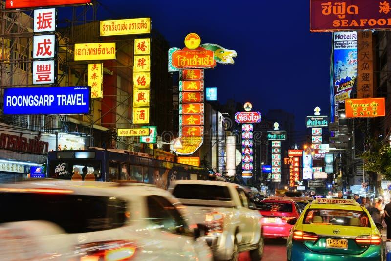 Yaowarat Road, the main street of Chinatown in Bangkok Thailand stock photography