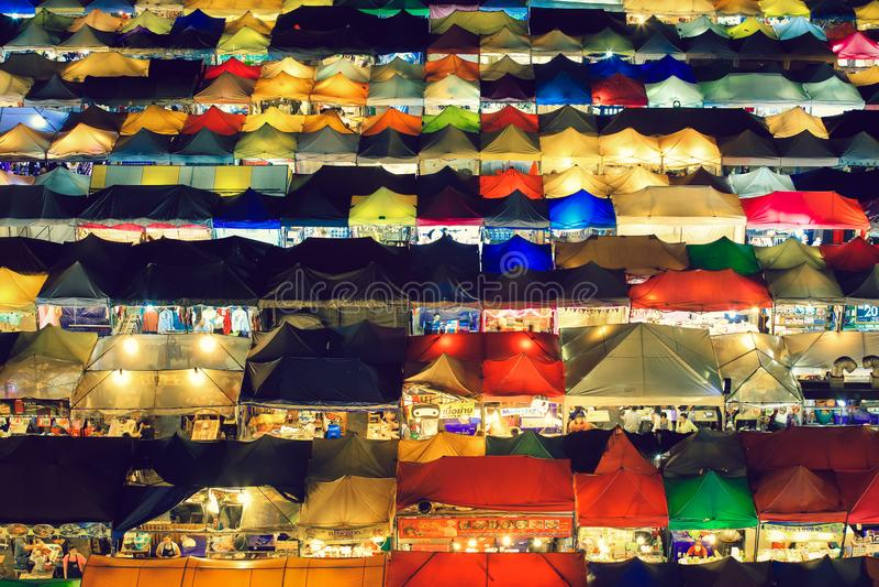 Ratchada train night market in Bangkok stock photos