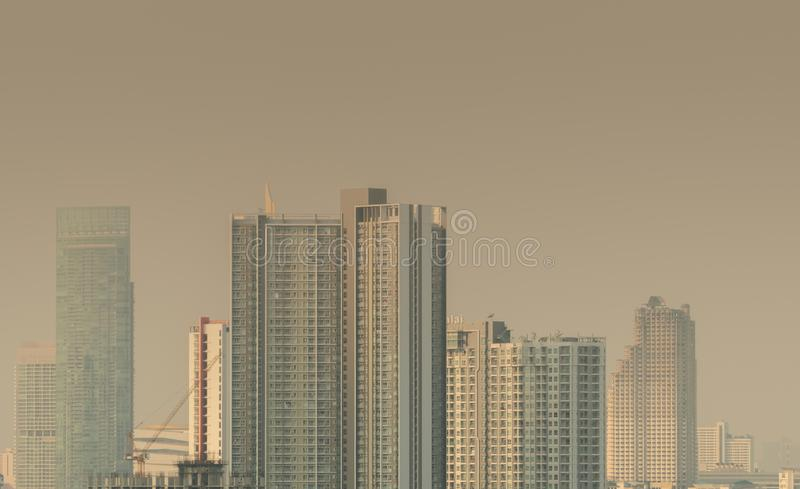 Air pollution. Bad air quality filled with dust. Global warming from air pollution.Environmental problem from gas carbon monoxide. BANGKOK, THAILAND-JANUARY 27 stock images
