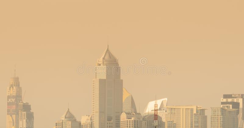 Air pollution. Bad air quality filled with dust. Global warming from air pollution. Environmental problem from gas carbon monoxide. BANGKOK, THAILAND-JANUARY 27 stock photography