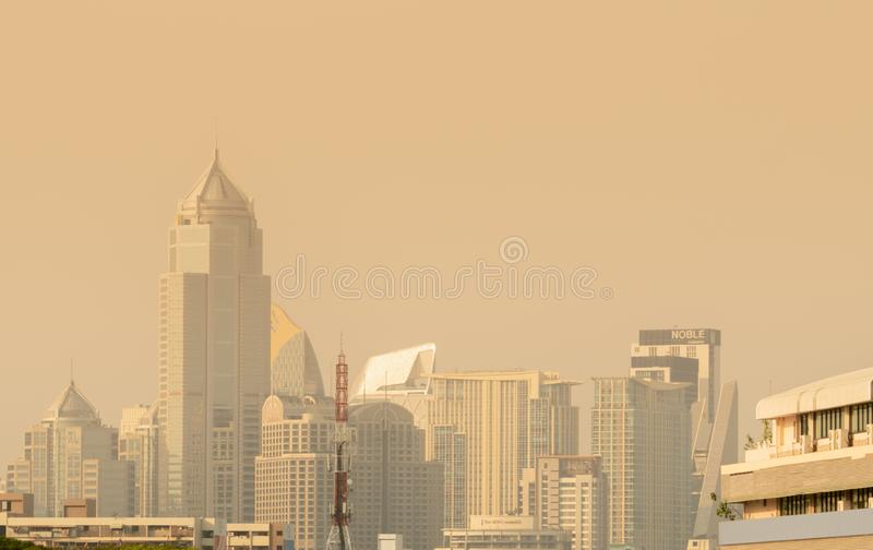 Air pollution. Bad air quality filled with dust. Global warming from air pollution. Environmental problem from gas carbon. BANGKOK, THAILAND-JANUARY 27, 2019 stock photos
