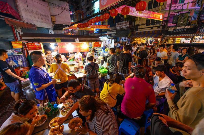 Bangkok, Thailand - January 26, 2019 : Bangkok chinatown night street food is famous and popular destinations for tourists stock photography