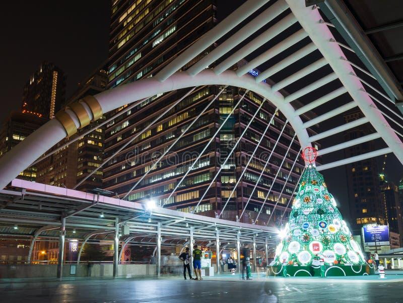 Bangkok Chong Nonsi sky walk at bangkok sky train station on Silom Line at night. stock images