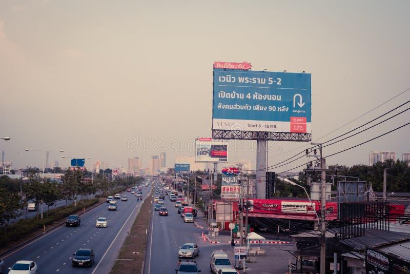 Bangkok, Thailand- January 07, 2018 : The billboard near the roa royalty free stock photo
