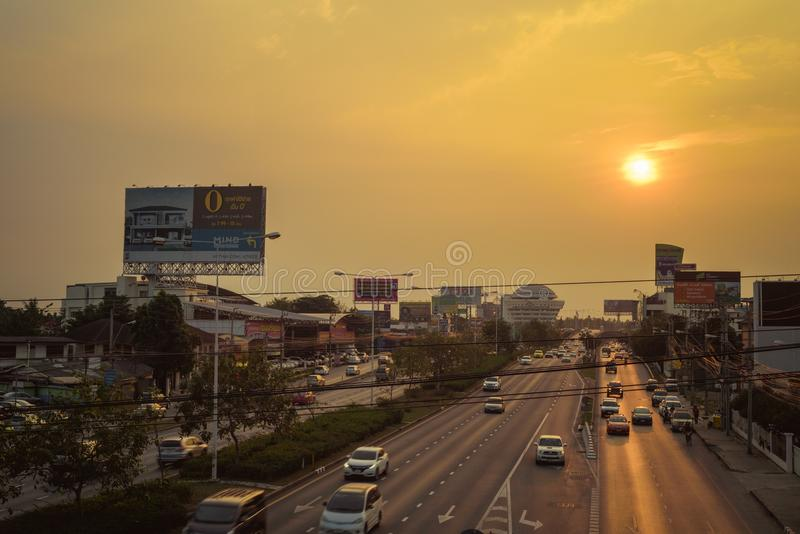 Bangkok, Thailand- January 07, 2018 : The billboard near the roa stock photos
