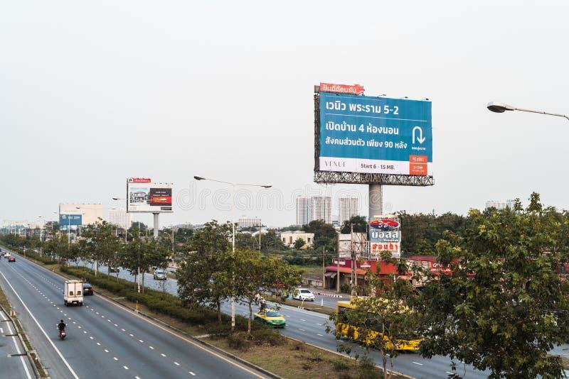 Bangkok, Thailand- January 07, 2018 : The billboard near the roa stock photo