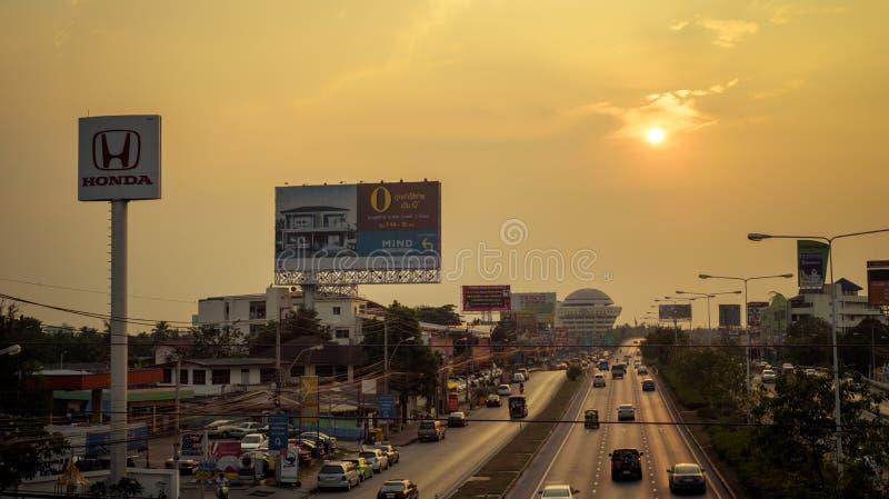 Bangkok, Thailand- January 07, 2018 : The billboard near the roa royalty free stock images