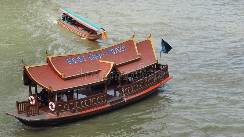 Baan Chao Praya shuttle boat cruises on the river royalty free stock images
