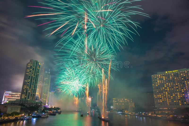 Landscape photo of firework for New Year 2020 celebration on Chao Phraya River at IconSiam or Icon Siam Department Store, Bangkok,. Bangkok, Thailand - 1 January royalty free stock photo